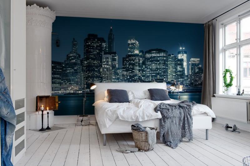Fototapeta Nowy Jork nocą sypialnia